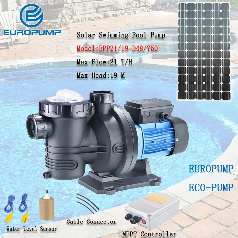 EUROPUMP 1HP Solar Pump DC solar swimming pool pumps Max flow 21000 L/H Lift 19M solar surface pump MODEL(EPP21/19-D48/750) surface swirl pump kraton pwp 750
