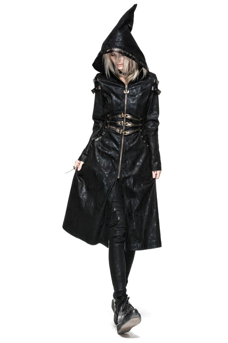 Manteau Femelle Tranchée Gothique Noir Visuel Capuche À New Fit Femmes Taille Punk Slim Ceinture Long Sorcière Streampunk qaO4IwZ6