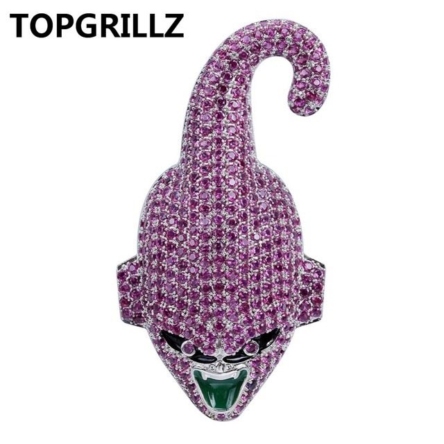 TOPGRILLZ Dragon Ball Super Majin Buu Pendant Necklace Iced Out CZ Hip Hop Gold Silver Color Men Women Charms Chain Jewelry