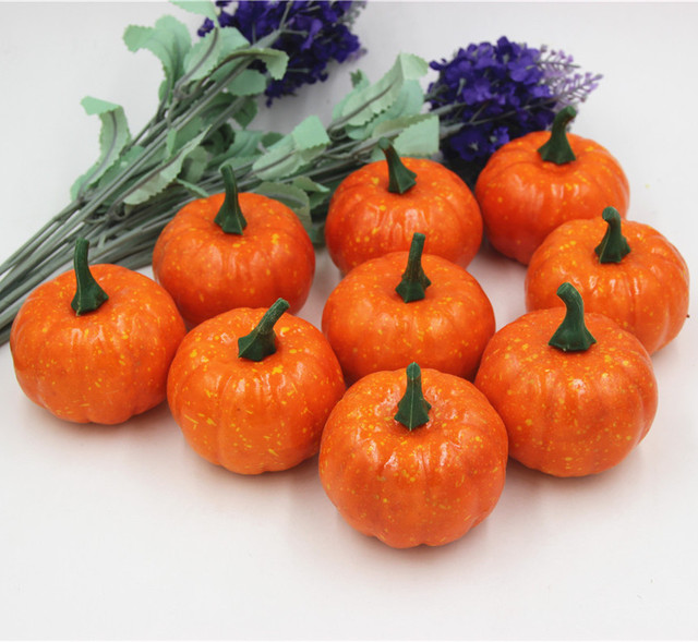 16pcs/Pack Mini Foam Pumpkin For Thanksgiving Fall Halloween Table Decor Vase Filler DIY Centerpieces Wedding Decorating 4