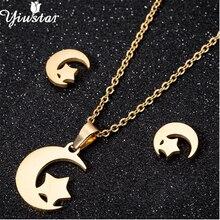 Yiustar Beauty Stainless Steel Moon Star Necklaces Tiny Star