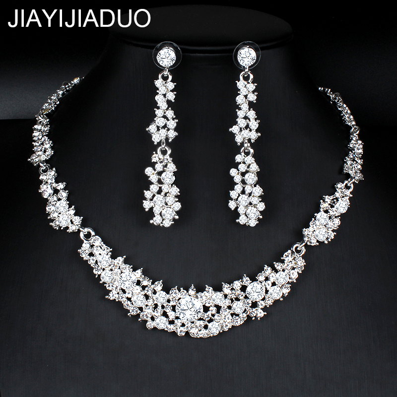 Jiayijiaduo Klassische Kristall Hochzeit Schmuck Set Silber Farbe Halskette Ohrringe Für Frauen Kleider Bankett Dating Schmuck Ungleiche Leistung Hochzeits- & Verlobungs-schmuck