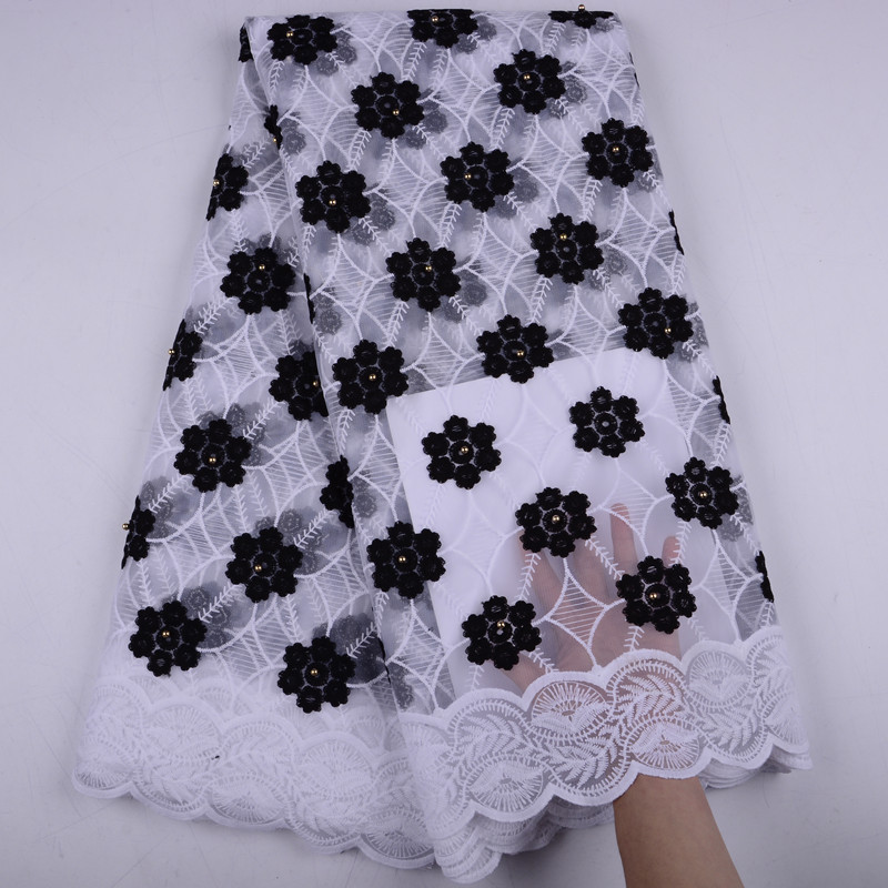 African French Lace Fabric High Quality With Stones Nigerian Embroidery Tulle French Milk Silk Lace Fabric