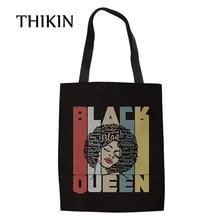 THIKIN African American Black Girls Canvas Women Tote Shoulder Bag Handbag Pink Verras Pop Shopper Bags Reusable Shopping Bag недорго, оригинальная цена
