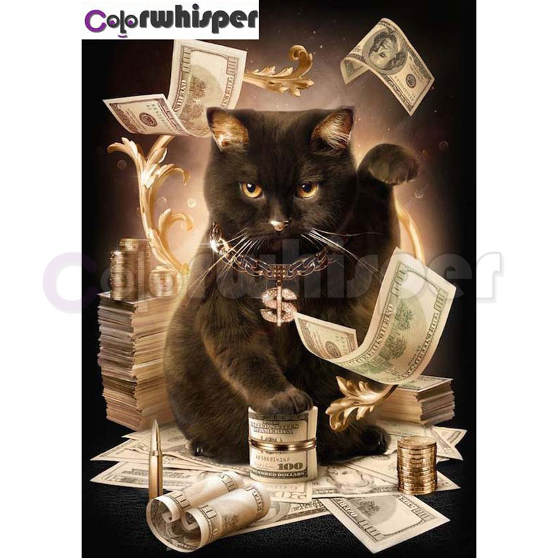 Diamond Painting Full Square/Round Daimond PaintingAnimal Cat Cash SurrealMosaic Rhinestone Embroidery Bedroom Decor 062DP
