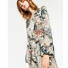 Retro Printed Leaves Flower Sashes Waist Blazer Casual Women Shawl Collar Slim Fit  Suit Jacket Coat Outerwear