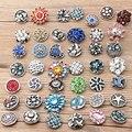 Atacado 50 Pçs/lote Alta Qualidade 18 MM botões De pressão de Metal Pedrinhas Mixed Estilos Snaps DIY Encantos Jóias Bracelet & Bangle kz001
