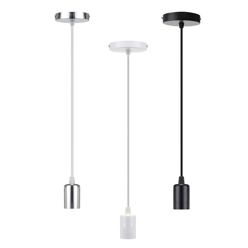 Elegant Black/White/Silver 1m E27 Lamp Base Ceiling Pendant Light Lamp Holder  Socket Lamp