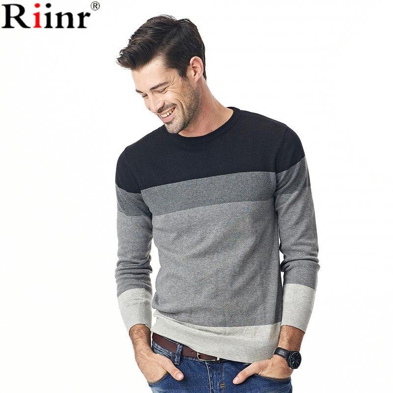 Riinr Мода 2017 г. Новое поступление свитер Для мужчин высокое качество осень и зима Повседневное О-образным вырезом в полоску из 100% хлопка пуловер с длинными рукавами Для мужчин