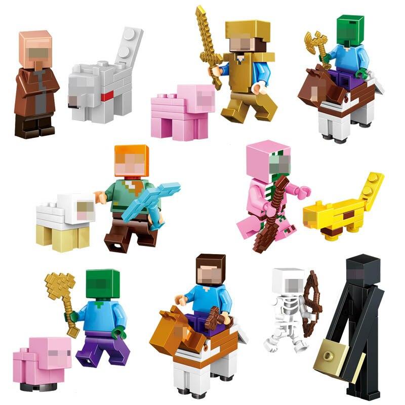 16 unids/lote Minecraft Compatible bloques de construcción juguetes Steve Alex Zombie esqueleto arma acción figuras regalo juguetes para niños # E