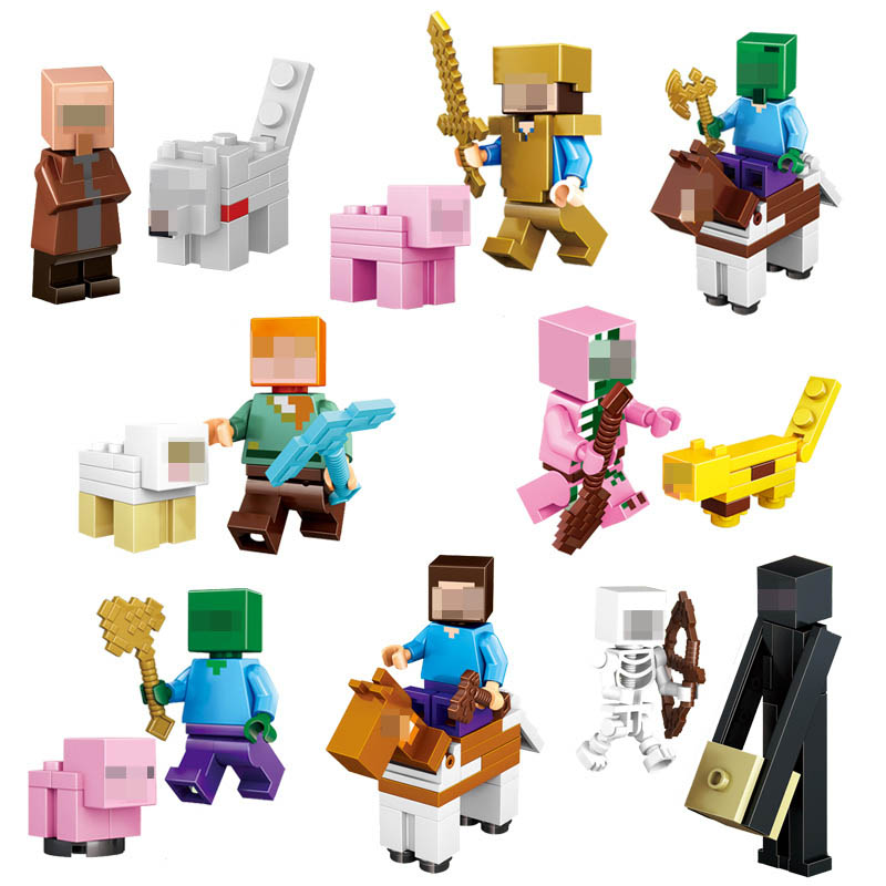 16Pcs/Lot Minecraft Compatible Building Blocks Toys Steve Alex Zombie Skeleton Weapon Action Figures Gift Toys for children #E minecraft 4 in 1 building blocks minecraft figures dragons toys steve zombie alex witch zombie skeleton compatible blocks e