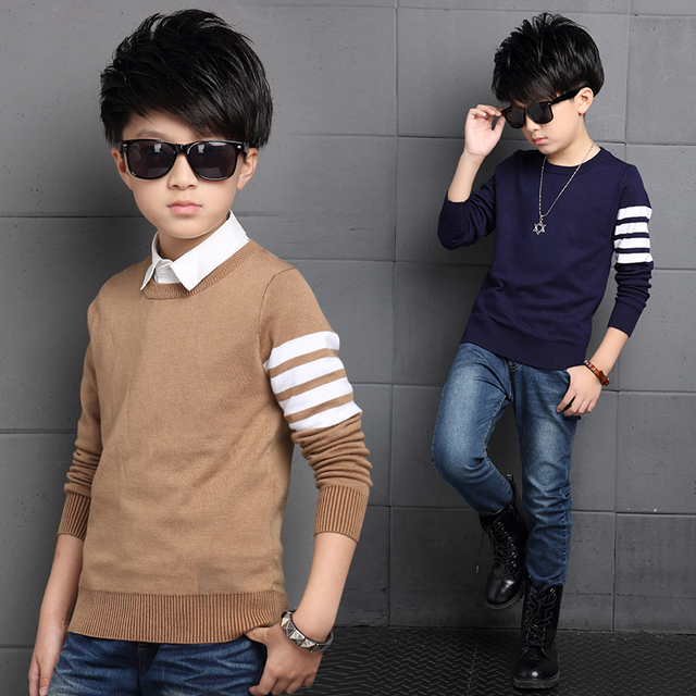 New Teeage Boys Sweater Children Outwear Brand Design Sweaters For Boy Autumn Winter Wool Warm Clothing Kids Sweater 4-12 Year