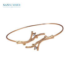 Sansummer 2019 New Hot Fashion Branch Rhinestone Bangle For Women Ethnic Style Simple Trendy Jewelry 735