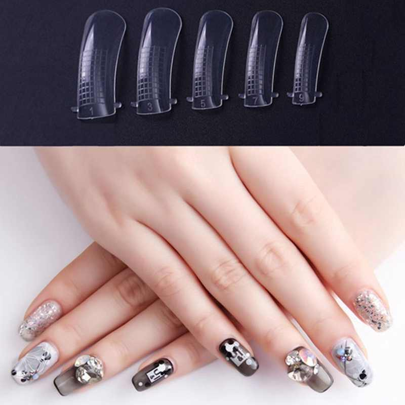 MIZHSE Poly Gel False Nail Tips Model Form Clear French Full Cover Acrylic  Nails Mold Fake Nails Extension Transparent