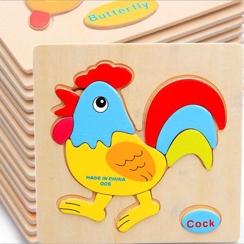 Продаем дерева 3d Головоломки Логические игрушки для детей мультфильм животных автомобиля деревянные головоломки разведки одежда для малы...