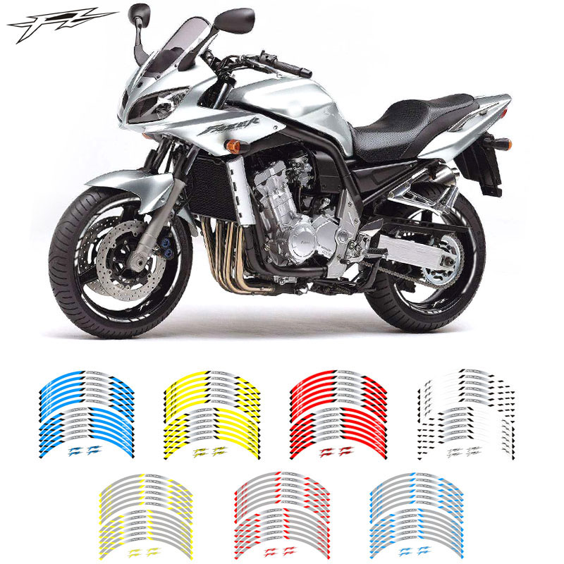 Motorcycle front and rear wheels Edge Outer Rim <font><b>Sticker</b></font> Reflective Stripe Wheel Decals For YAMAHA <font><b>FZ</b></font> image