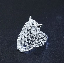 Animail Silver plated Cute Owl Stackable Hollow Finger Ring for Woman Wedding Engagement Party Vintage Jewelry size 5-9