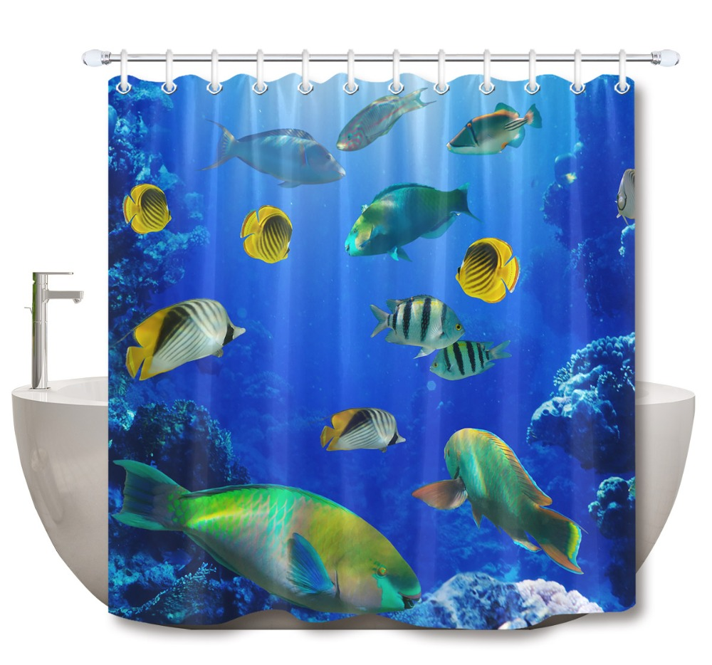 polyester waterproof fabric colorful coral reef tropical fish shower curtain set bathroom supplies accessories shower curtains