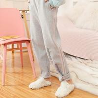 Принцесса сладкий брюки в стиле Лолиты Зимняя мода Академии Стиль Письмо Вышивка с полосатой шерсти дно шаровары повседневное VC255