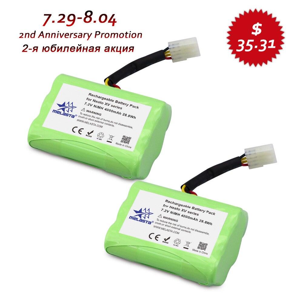 Melasta 2Pack 7 2V 4Ah NIMH Battery for Neato XV 21 XV 11 XV 14 XV