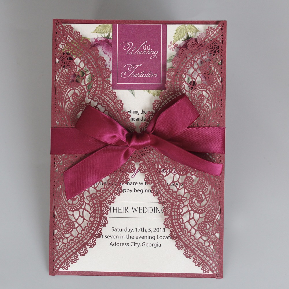 Wine Red Wedding Invitation Laser Cut Invitation Cards Elegant Lace ...