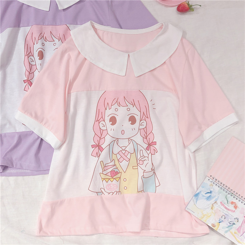Korean Preppy Style Cute Anime Girl Printed T-shirt Short Sleeve T Shirt Student Young Girls Tee Shirts Harajuku Graphic Tops