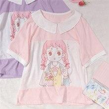 Korean Preppy Style Cute Anime Girl Printed T-shirt Short Sleeve T shirt Student Young Girls Tee Shirts Harajuku Graphic Tops