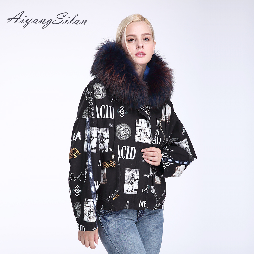 AiyangSilan Women Fashion Coats Real Raccoon Fur Collar Parka Natural Rex Rabbit Fur Liner Down Cotton Coat Fur Jacket Winter 2017 winter new clothes to overcome the coat of women in the long reed rabbit hair fur fur coat fox raccoon fur collar