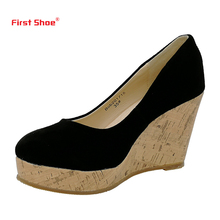 2017 New Cow Suede Kate Princess Pumps Superstar Sapphire Women Wedge Heels Shoes Sexy Elegant Pumps Trend-setting Office Shoes