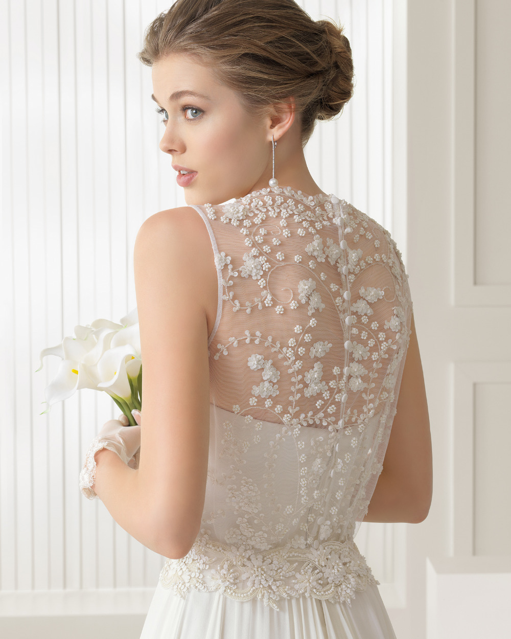 2 illusion neckline wedding dresses Watters Fall A line Bridal Gown with Illusion Neckline
