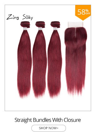 Straight 99JBurgundy Human Hair 3 Bundles With Closure Brazilian Remy Hair Extensions Weave 44 Lace Closure Natural Color Hair