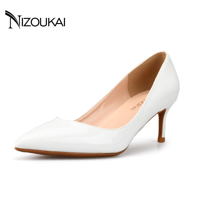 2017 New Sexy Women's High Heels Fashion Pu Leather wedding Shoes Woman Pointed Toe OL Slip On Ladies Pumps Heels d04-q6 brand shoes woman spring summer rainbow women pumps high heels fashion sexy slip on pointed toe thin heel party wedding shoes