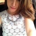 Margaritas estilo verano recortada tops mujer de encaje bordado de flores de ganchillo blusa Renda camisa corta Blusas camisetas femininas