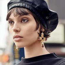 New Arrival Vintage Black Crystal Cross Drop Earrings for Women Baroque Bohemian Large Long Earrings Jewelry Brincos 2017