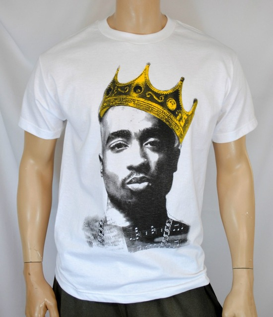 dcac1dd54256f TUPAC SHAKUR King Crown Mens camiseta Hip Hop Rap Swag NWA West Coast 2pac  camiseta Westside