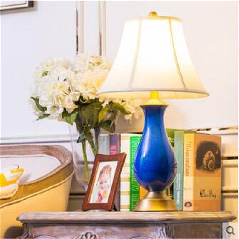 Сельских темно-синий Керамика Ткань E27 Настольная лампа для Гостиная Спальня прикроватной тумбочке Освещение H 66 см 1530