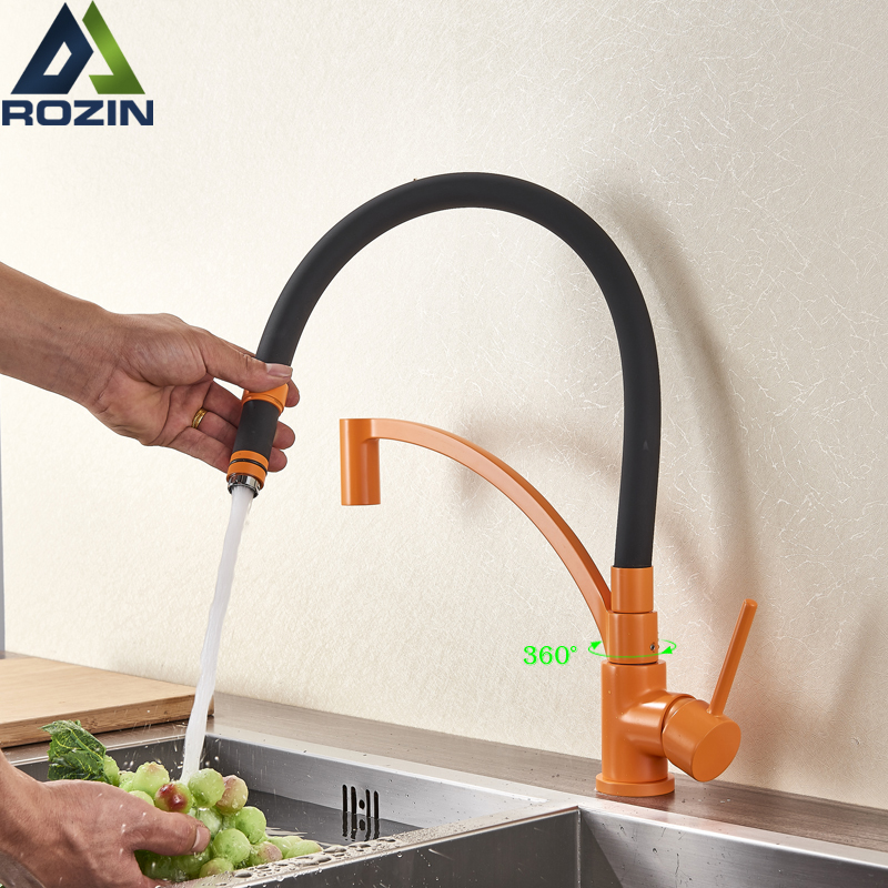 Orange Black Pipe Pull Down Kitchen Faucet Bathroom Vanity Sink Taps Deck Mounted Green Color Kitchen Hot Cold Water Faucet hot sale kitchen bathroom tools daily necessities thicken candy color water ladle