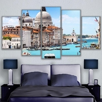 5 Panel Canvas Print Gondola Ride In Rome Landscape Painting Aquatic City Poster Home Decor Living