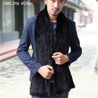 DANCING WINGS High end Soft Men Real Fur Mink Scarf 150 CM Women Winter Elastic Knitted Scarfs Unisex Couple Love's Scarves