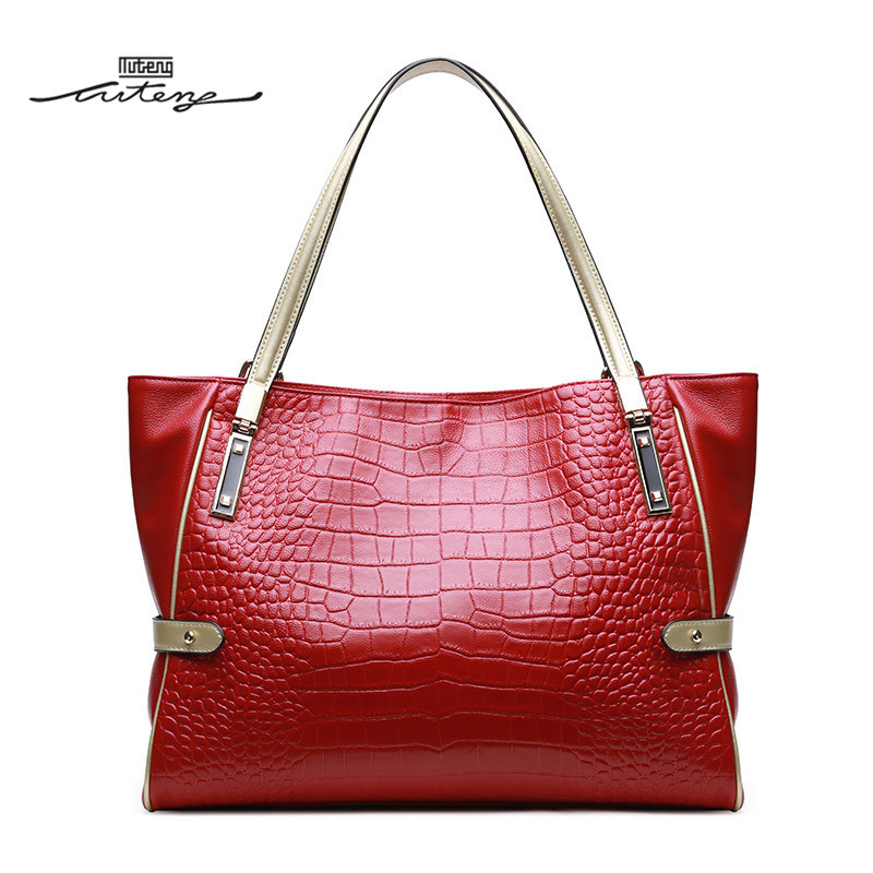 TU-TENG Women Handbag Embossed Texture Top Genuine Leather Bags 2018 Fashion Handle Bags Portable Casual Bag Tote G73190