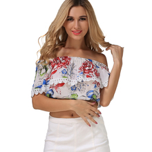 Blusas 2017 Summer Style Womens Boho Blouse Sexy Women Lace Patchwork Casual Off Shoulder Print Shirts Slash Neck Tops Fashion