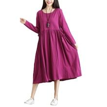 Uego 2018 New Fashion Cotton Linen Autumn Dress Solid Color Long Sleeve Ladies Autumn Casual Dress Plus Size Loose Midi Dress