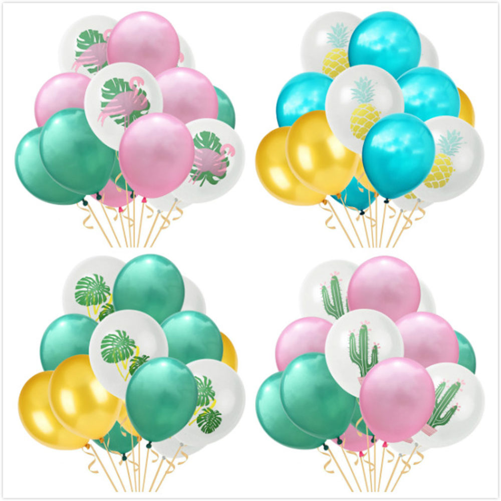 15pcs set 12 quot Jungle Summer Party Confetti Latex Balloons Leaf Flamingo Pineapple Palm Luau Aloha Tropical Hawaiian Decoration in Ballons amp Accessories from Home amp Garden