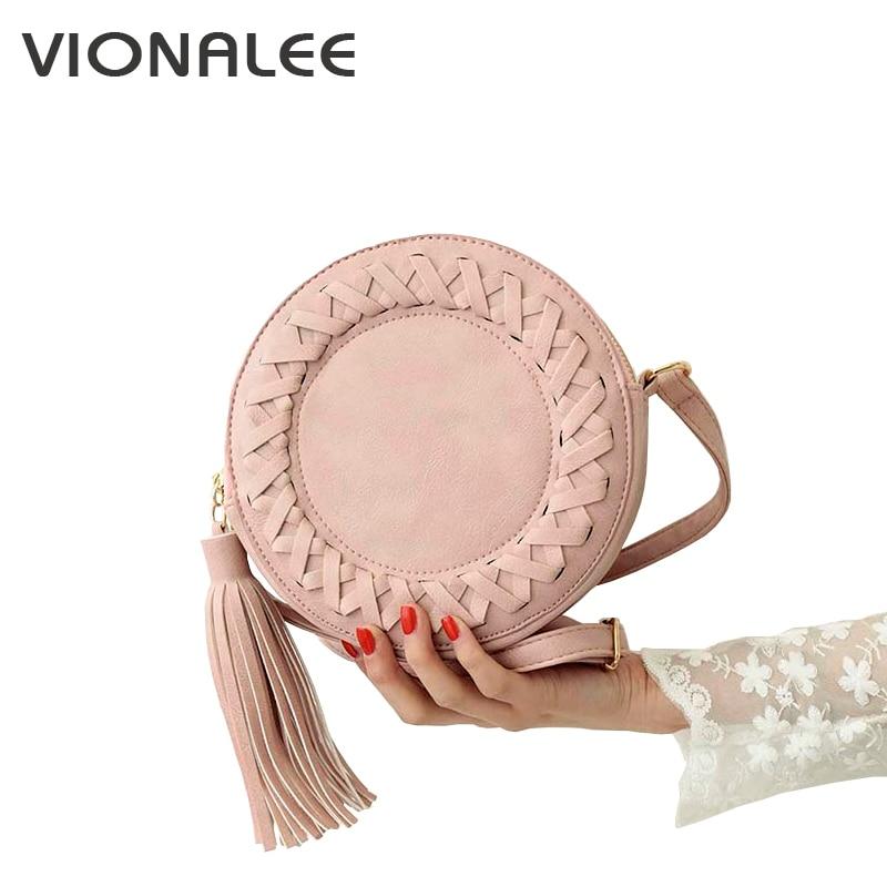 e2afdb92c42b Round Women Tassel Bag Woven Crossbody Bags For Womens Shoulder Bag Ladies  Cute Knitting Circular Women