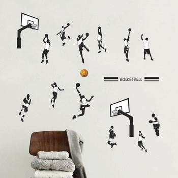 цена на Creative Basketball Sports Dunk wall sticker Bedroom living room decoration mural home decor stickers poster decals wallpaper