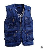 Leisure Men Cowboy Vests Spring Autumn Multi Pockets Casual Vest Coats Jacket Large Size Male Denim Vests Jeans Waistcoats J1657