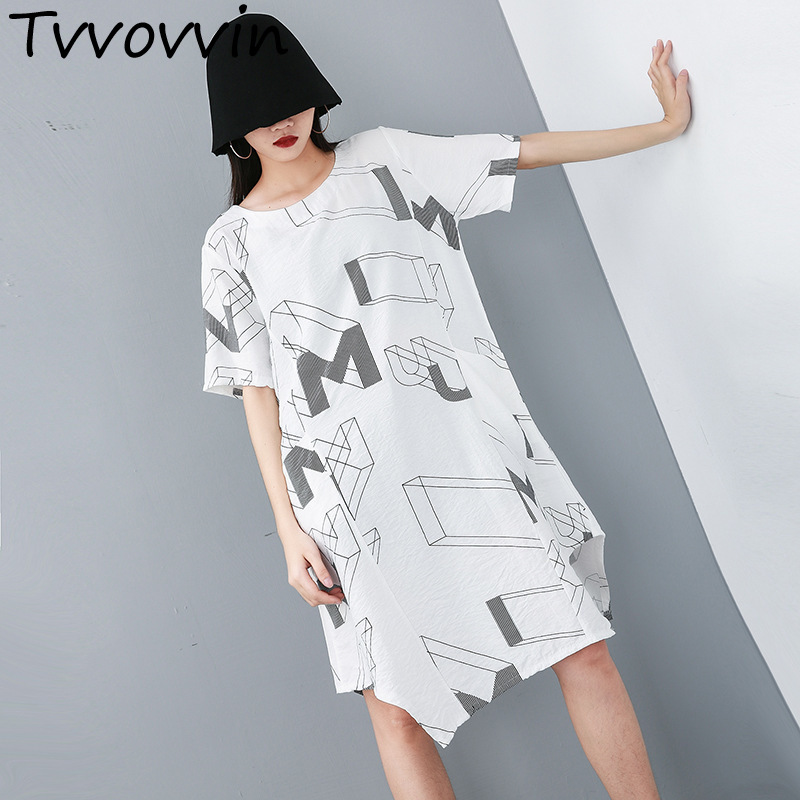TVVOVVIN 2019 New Summer Fashion Women Clothes Thin Round Neck Short Sleeves Letter Printed Loose Dress Pullover AS998