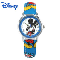 Disney Mickey Minnie Mouse Children Lovely Water Resistant Watch Boys Girls Fashion Casual Kids Leather Steel