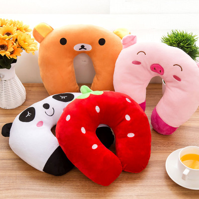New Cartoon U-Shaped Pillow Neck U-pillow Cervical  NAP Cute Airplane Travel Pillow Panda Pig Tiger Black Cat Cute Shape
