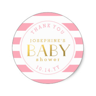 3.8cm Pink Stripe Baby Shower Thank You Stickers In Stickers From Home U0026  Garden On Aliexpress.com | Alibaba Group